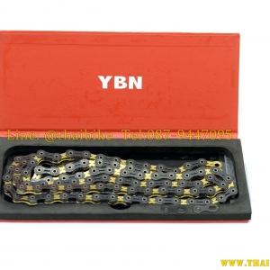 โซ่ YBN / 11sp. / 116L (ไทเทเนียม) เซำะร่อง สีดำทอง