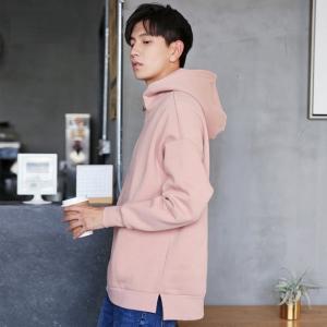 พร้อมส่ง เสื้อฮู้ดผู้ชาย สีชมพู เสื้อกันหนาวมีฮูด มีซิปช่วงคอ ไหล่ตก แฟชั่นสไตล์เกาหลี