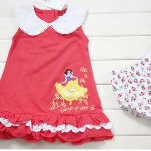 ชุดกระโปรงแดงอมชมพูเจ้าหญิงสโนไวท์ พร้อมกางเกงใน - size 80