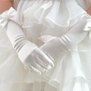 ถุงมือยาว สีขาว Size S(1-3 ปี)