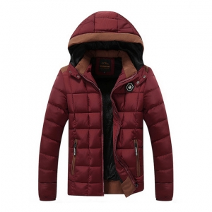 พร้อมส่ง แจ็คเก็ตกันหนาวผู้ชาย สีแดง มีฮูด บุนวม ด้านในบุกำมะหยี่กันหนาว ใส่ลุยหิมะ