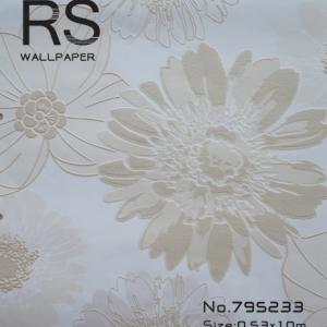 วอลเปเปอร์ลายดอกไม้สีน้ำตาลกับสีครีมพื้นสีขาว รหัส: 795233