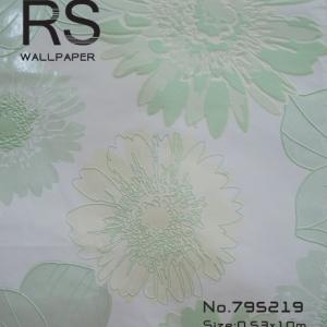 วอลเปเปอร์ลายดอกไม้สีเขียวอ่อนกับสีเหลืองอ่อนพื้นสีขาว รหัส: 795219