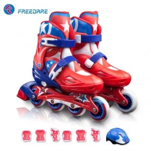 Roller Skate สีแดง พร้อมอุปกรณ์ Safety ครบชุด