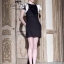 VALENTINO Queen dress in black with rose shoulder thumbnail 4