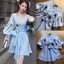 Lady Lola Dazzling Summer Blue Striped Cotton Ribbon Dress thumbnail 3