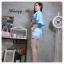 Set เสื้อคอปตัวสั้นเอวลอยสีฟ้าสด thumbnail 3