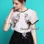 Organdy Flower Embroider Blouse math with Black Shorts Bow Diamond by Seoul Secret thumbnail 7