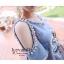 Strapless Denim Diamond 3 D dimensional Flower Dress thumbnail 6
