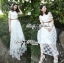 Lady Sienna Classic Vintage White Lace Dress thumbnail 9