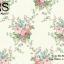 วอลเปเปอร์ลายดอกไม้สไตล์วินเทจดอกสีชมพู ฟ้า ม่วง สีสดใบสีเขียวเข้มพื้นสีขาวเขียวเงา BQ-B08 thumbnail 1