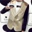 พรีออร์เดอร์ เสื้อสูท ผู้ชาย ลำลอง สีน้ำตาล แขนสีดำ แขนยาว คอปก แต่งบ่าสีน้ำตาล กระดุม 2 เม็ด thumbnail 1