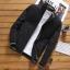 เสื้อแจ็คเก็ต ผู้ชาย สีดำ ซิปหน้า คอจีน ปลายแขนจั้ม แต่งลาย กระเป๋าข้างใช้งานได้ thumbnail 1