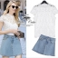 White lace top and denim skirt by ZARA thumbnail 1