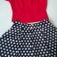 Celebrity style red blouse and polka dot skir thumbnail 4