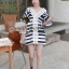 Chicly V Shape Lace Cotton Stripy Dress by Seoul Secret thumbnail 1