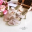 รองเท้าแฟชั่นส้นเข็มหนังกำมะหยี่คาดสีทองสวยมาก thumbnail 3