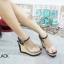 รองเท้าส้นเตารีดทรงสวมรัดข้อ ด้านหน้าเป็นPUนิ่มใส thumbnail 1