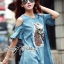 Lady Ribbon's Made Lady Alexa Sequin Horse Cut-out Denim Dress thumbnail 1