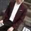 พรีออร์เดอร์ เสื้อสูท ผู้ชาย ลำลอง สีแดง ลายตาราง แขนยาว คอปก แต่งขอบกระเป๋า กระดุม 1 เม็ด thumbnail 2