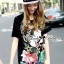 Lady Ribbon's Made Lady Micky Printed and Sequin Liz Hip-Hop Style T-Shirt Dress thumbnail 3