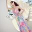Pastel flowers paint maxi dress thumbnail 1
