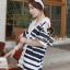 Chicly V Shape Lace Cotton Stripy Dress by Seoul Secret thumbnail 2