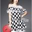 Lady Ribbon's Made Lady Isabella Smart Off-Shoulder Check Printed Cotton Dress thumbnail 4