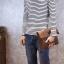 พร้อมส่ง กระเป๋าสะพาย ผู้ชาย สีน้ำตาล ถอดสายได้ เป็นกระเป๋าถือ มีช่องเก็บของเยอะ thumbnail 3