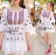 (ส่งฟรี EMS) Lady Ribbon's Made Red Floral Mini Dress Layer Skirt thumbnail 3