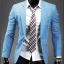 พร้อมส่ง เสื้อสูทผู้ชาย เสื้อสูทลำลอง สีฟ้า คอปก กระดุมเม็ดเดียว แขนยาว thumbnail 1