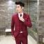 พร้อมส่ง ชุดสูทผู้ชาย สีแดง เสื้อสูท+เสื้อกั๊ก+กางเกง เข้าชุด สุดเท่ห์ thumbnail 2