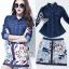 Sevy Alexandra Denim T-Shirt With Painting Skirt Sets thumbnail 1