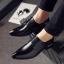 พร้อมส่ง รองเท้าคัชชู ผู้ชาย หนัง PU สีดำ แต่งเชือก ใส่ทำงาน แบบสวม มีส้น thumbnail 3