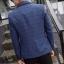 พรีออร์เดอร์ เสื้อสูท ผู้ชาย ลำลอง สีน้ำเงิน ลายตาราง แขนยาว คอปก แต่งขอบกระเป๋า กระดุม 1 เม็ด thumbnail 2