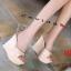 รองเท้าส้นเตารีดแฟชั่น แบบส้นตึกอันดับหมุดทองด้านหน้าส้นสูงประมาณ 4.5 นิ้ว thumbnail 4