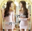 Lady Ribbon's Made Lady Lindsay Off-shoulder Lace Body-con Dress in Ivory thumbnail 1