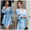 Lady Lola Dazzling Summer Blue Striped Cotton Ribbon Dress thumbnail 1