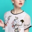Organdy Flower Embroider Blouse math with Black Shorts Bow Diamond by Seoul Secret thumbnail 5