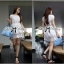 White Summer Floral Striped See-through Lace Mini dress thumbnail 4