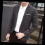 พรีออร์เดอร์ เสื้อสูท ผู้ชาย ลำลอง สีดำ ลายตาราง แขนยาว คอปก แต่งขอบกระเป๋า กระดุม 1 เม็ด thumbnail 2