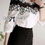 Lady Ribbon's Made Lady Varina Black and White Flowery Embroidered Cut-Out Top thumbnail 3