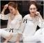 Lady Ribbon's Made Lady Aerin Pretty Insert Lace White Chiffon Blouse thumbnail 6