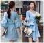 Lady Lola Dazzling Summer Blue Striped Cotton Ribbon Dress thumbnail 2