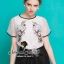 Organdy Flower Embroider Blouse math with Black Shorts Bow Diamond by Seoul Secret thumbnail 6