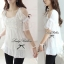 Lady White Blooming Lace Cut-shoulder Blouse thumbnail 2