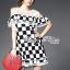 Lady Ribbon's Made Lady Isabella Smart Off-Shoulder Check Printed Cotton Dress thumbnail 1
