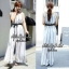 Jolie By D-Sai JumpSuit Chiffon Stripe White & Black Style Korea thumbnail 6