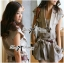 Lady Ribbon's Made Lady Paula Safari Jacket Playsuit with belt in Camel thumbnail 1