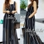 Jolie By D-Sai JumpSuit Chiffon Stripe White & Black Style Korea thumbnail 2